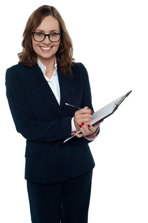 business women smiling with clipboard and pen